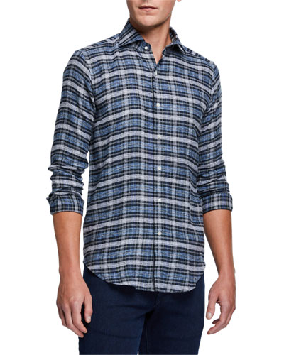 Men's Plaid Linen-Cotton Flannel Sport Shirt