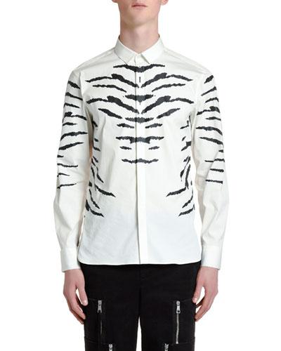 Men's Tiger Stripe-Print Sport Shirt