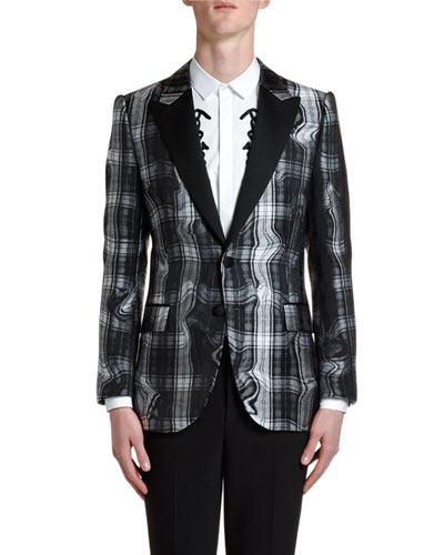 Men's Distorted Tartan Jacquard Two-Button Jacket