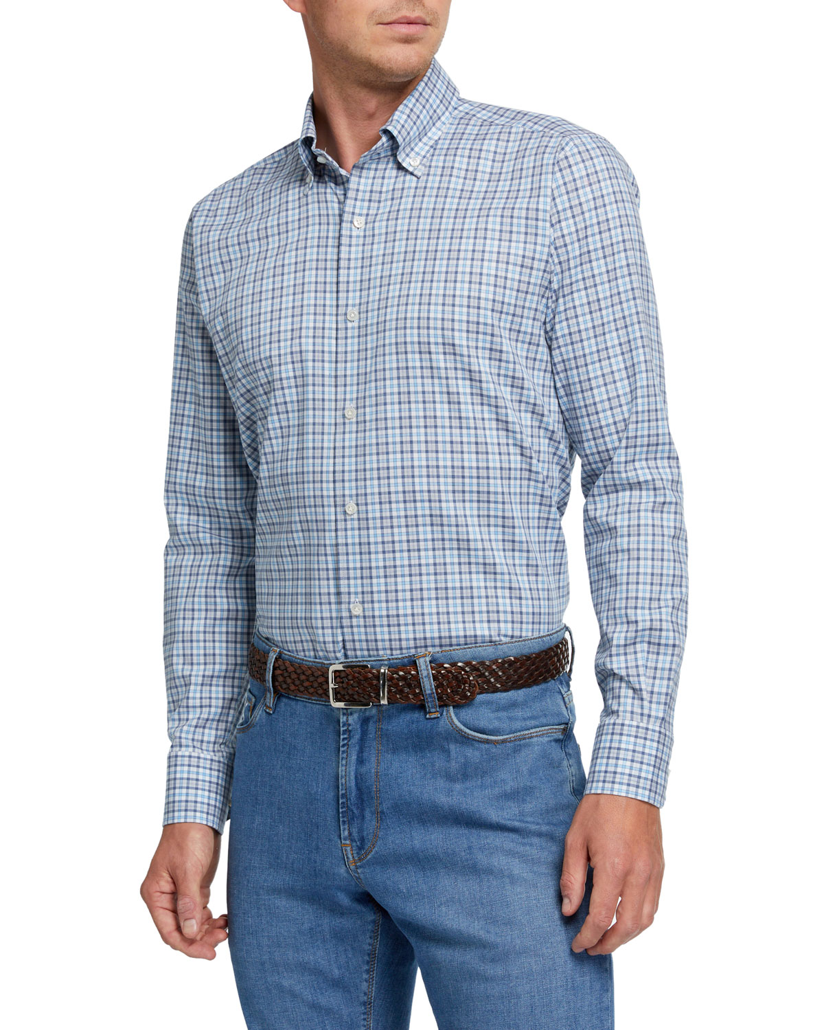 Peter Millar Tops MEN'S SMALL-PLAID SPORT SHIRT