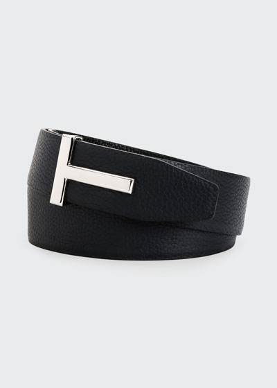 Men's Signature T Reversible Leather Belt