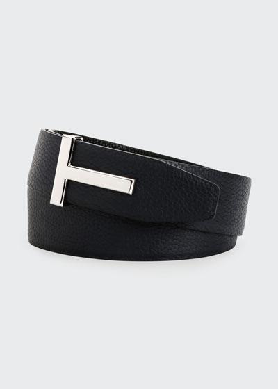 Men's Signature T Reversible Leather Belt