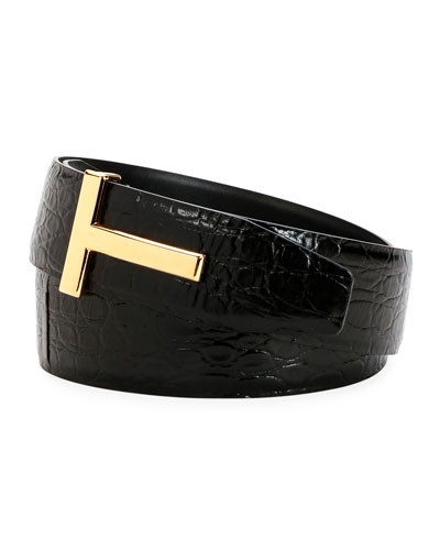 Men's Crocodile T-Buckle Belt