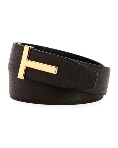 Men's Signature T Leather Belt