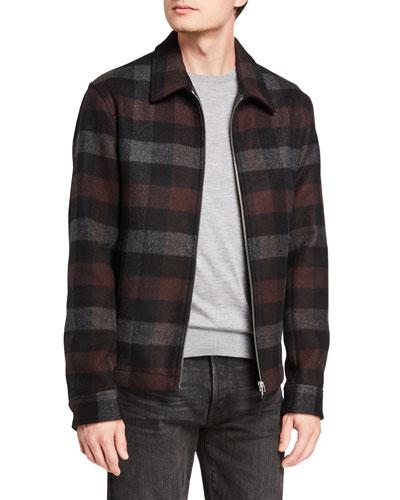 Men's Wyatt Mosaic Plaid Zip-Front Coat