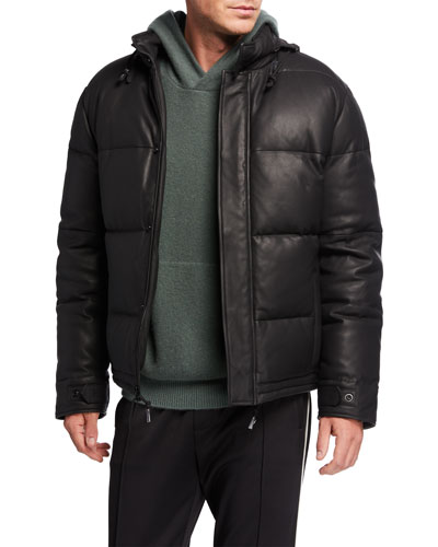 Men's Down-Filled Leather Puffer Jacket