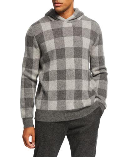 Men's Buffalo Plaid Cashmere Hoodie Sweater