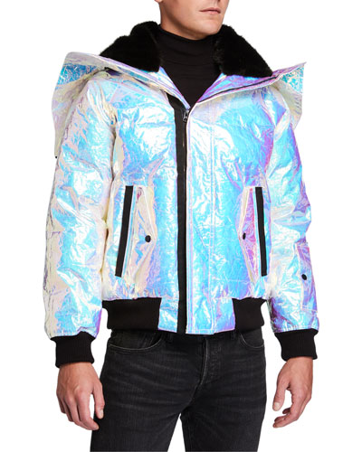 Men's Snorkel Holographic Puffer Coat