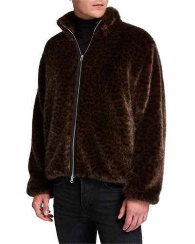 Men's Leopard Faux-Fur Coat