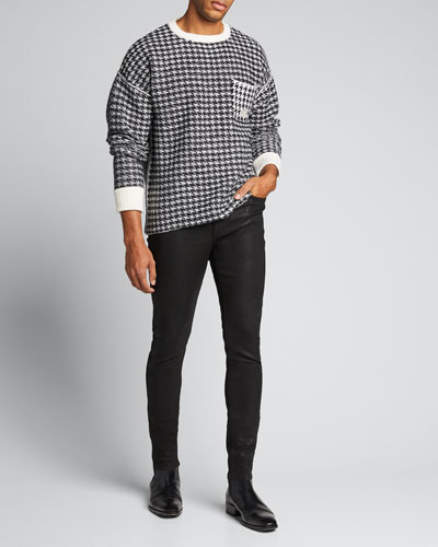Men's Houndstooth Oversized Wool Sweater