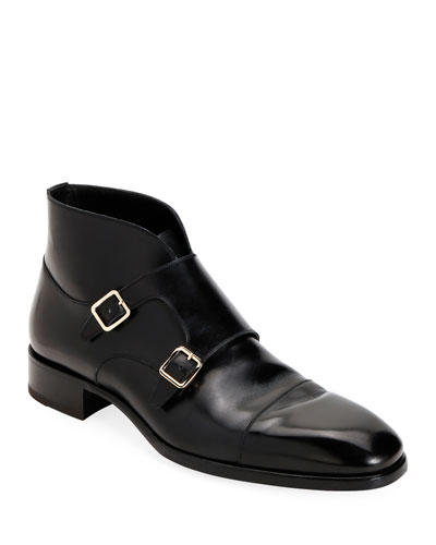Men's Double-Monk Strap Leather Ankle Boots