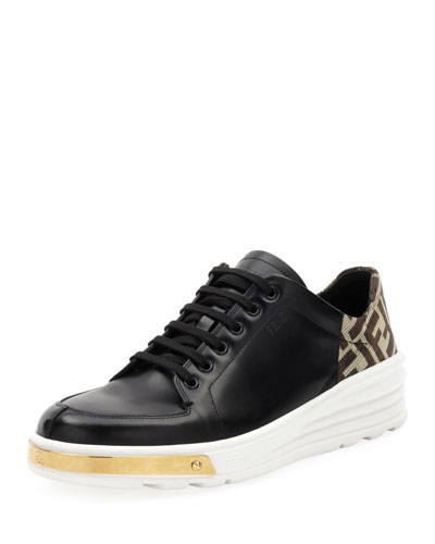Men's Logo-Back Leather Low-Top Sneakers