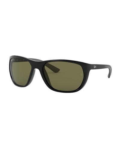 Men's 61mm Polarized Square Propionate Sunglasses