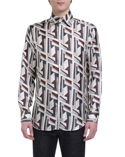 Men's Futuristic FF Long-Sleeve Silk Shirt