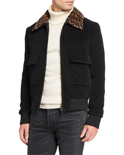 Men's FF Shearling-Collar Jacket