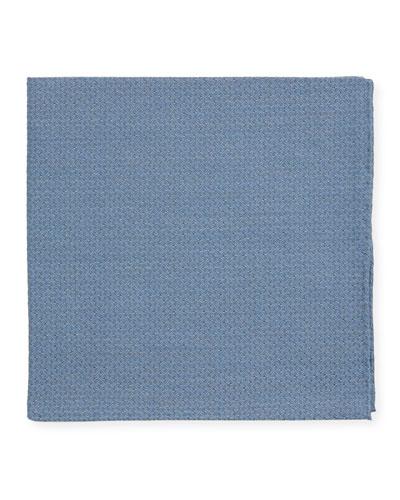 Men's Solid Jacquard Cashmere-Blend Pocket Square