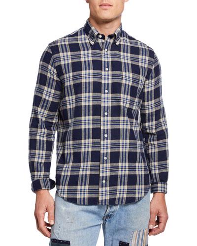 Men's Plaid Button-Collar Sport Shirt