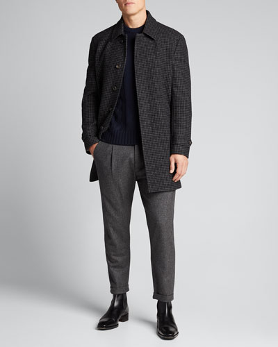 Men's Two-Tone Check Wool Coat