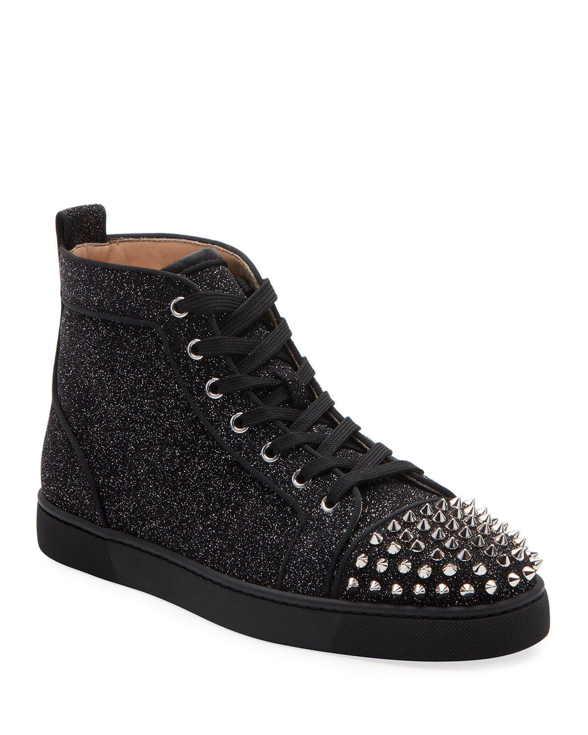 Christian Louboutin Sneakers MEN'S LOU ORLATO METALLIC SPIKED MID-TOP SNEAKERS