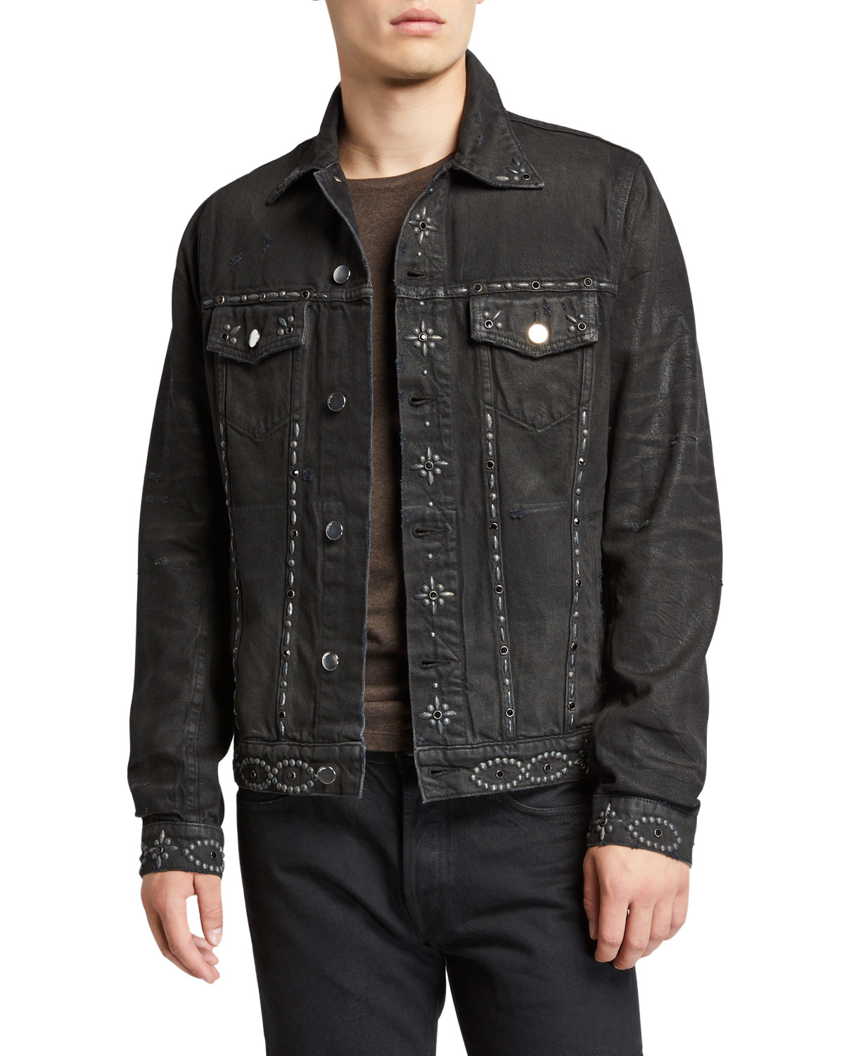 Amiri Jackets MEN'S STUDDED DENIM JACKET