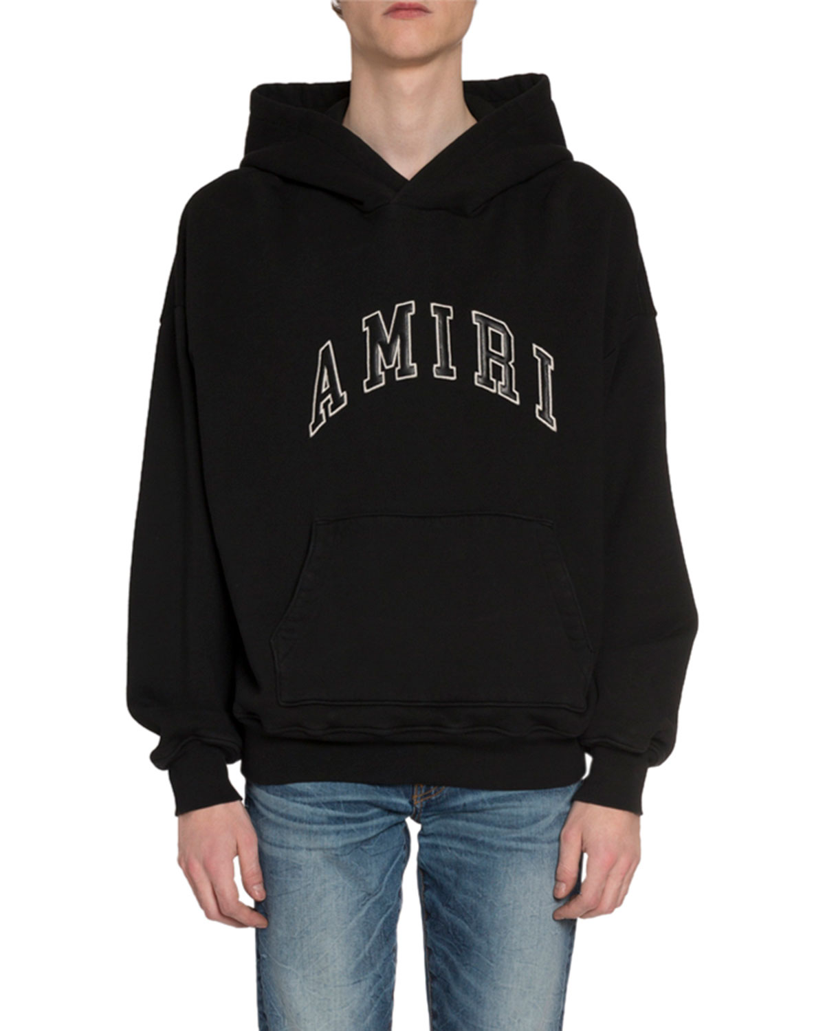 Amiri Hoodies MEN'S LEATHER LOGO APPLIQUE HOODIE