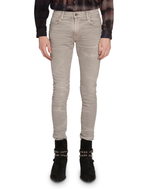 Amiri Jeans MEN'S SKINNY WHISKERED STRETCH-DENIM JEANS