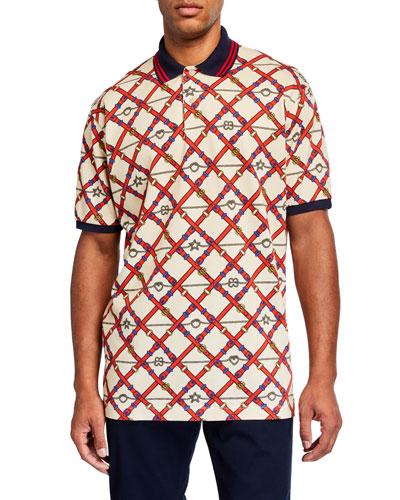 Men's Allover Pattern Pique Polo Shirt