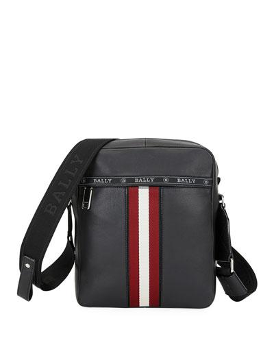 Men's Trainspotting Stripe Leather Crossbody Bag