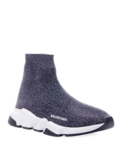 Men's Speed Heathered Knit High-Top Sock Sneakers
