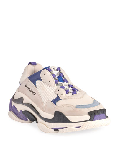 Men's Triple S Mesh & Leather Dad Sneakers