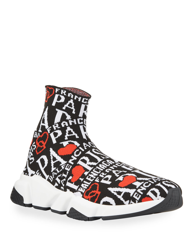 Balenciaga Sneakers MEN'S SPEED JACQUARD PARIS LOGO KNIT SNEAKERS
