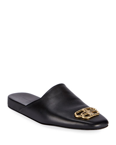 Men's BB-Buckle Leather Mule Slippers