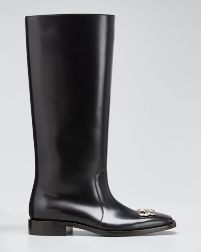 Men's Rim BB-Logo Leather Rain Boots