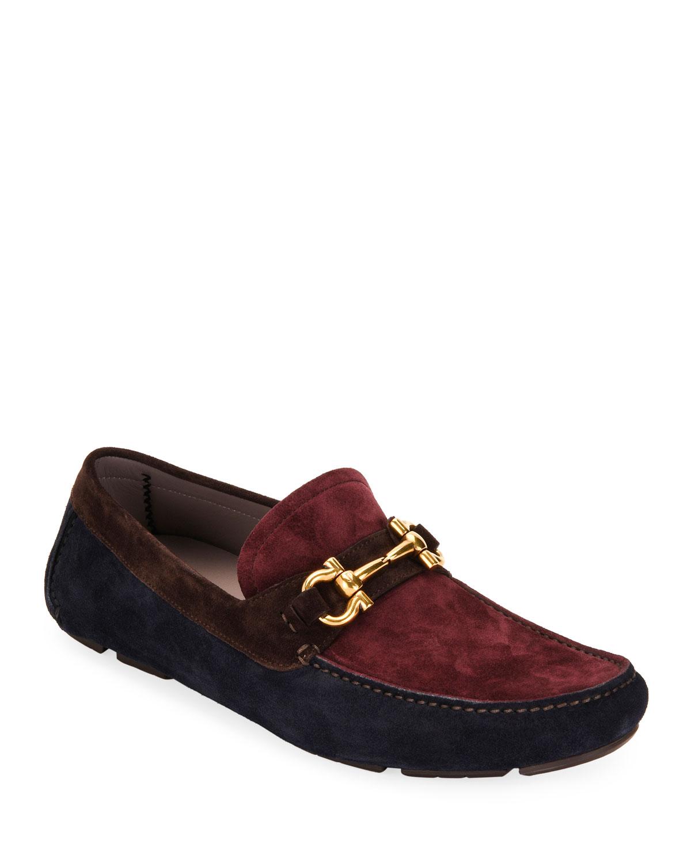 Salvatore Ferragamo Shoes MEN'S PARIGI GANCINI COLORBLOCK SUEDE DRIVERS