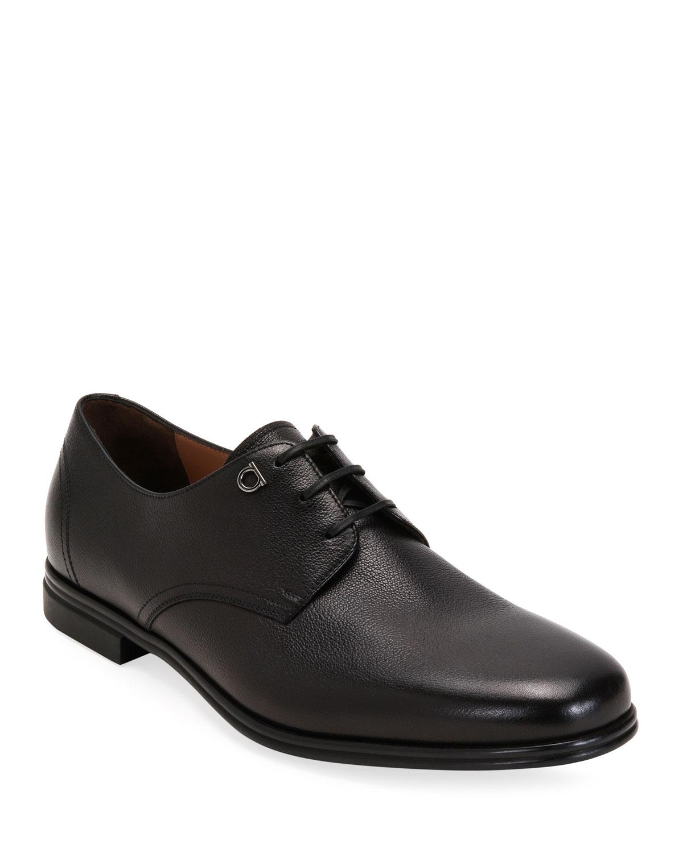 Salvatore Ferragamo Shoes MEN'S SPENCER LEATHER DERBY SHOES