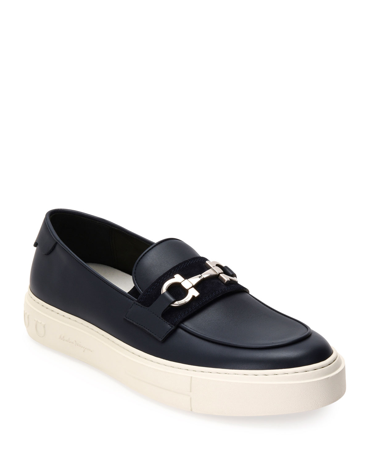 Salvatore Ferragamo Loafers MEN'S SATURDAY GANCINI-BIT SNEAKER LOAFERS