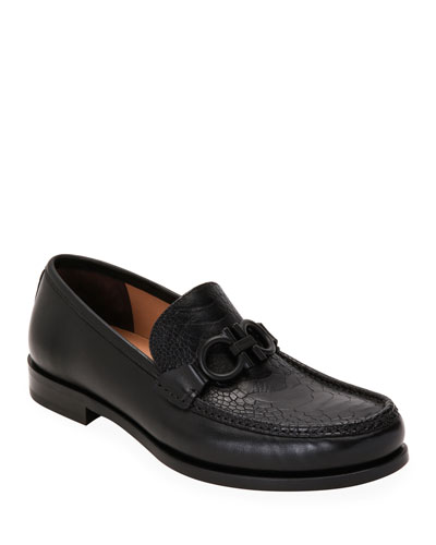 Men's Rolo 6 Gancini Loafers w/ Ostrich Leather