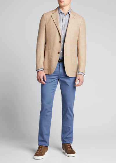 Men's Basketweave Solid Two-Button Jacket