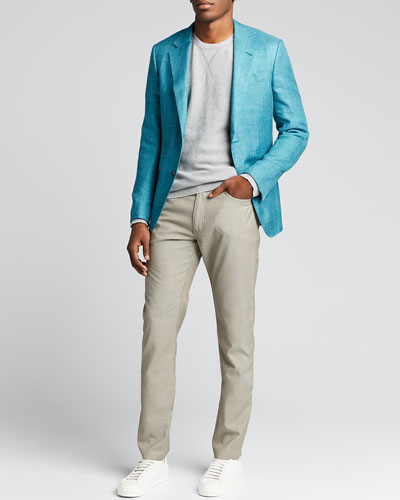 Men's Textured Solid Two-Button Jacket