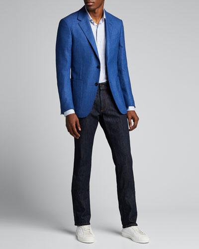 Men's Heathered Wool Two-Button Blazer