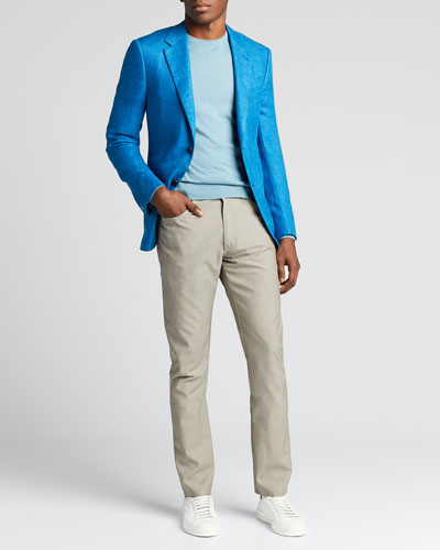 Men's Textured Regular-Fit Solid Two-Button Jacket