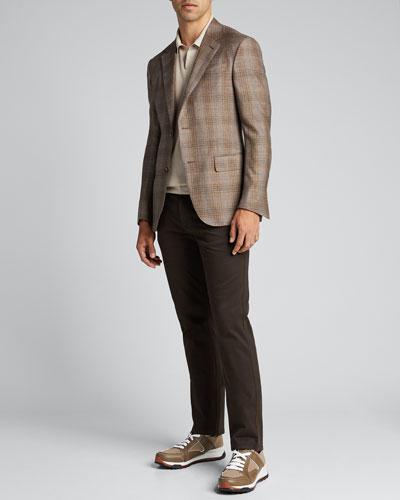 Men's Cashmere Regular-Fit Plaid Two-Button Jacket