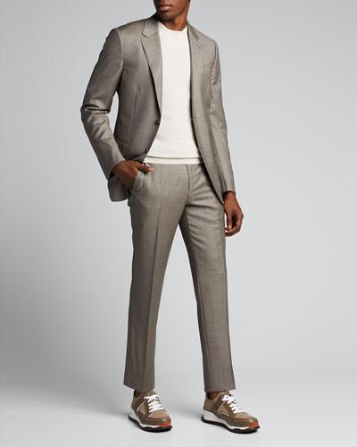 Men's Sharkskin Wool Two-Piece Suit