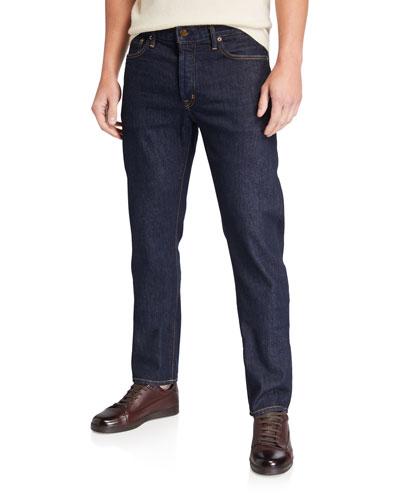 Men's Straight-Fit Dark-Wash Jeans