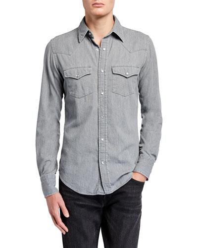Men's Western Denim Sport Shirt