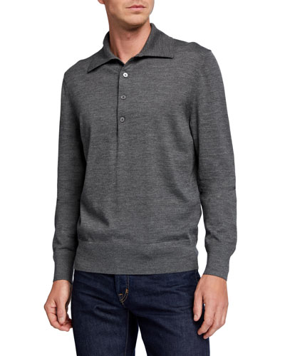Men's Extrafine Merino Wool Long-Sleeve Polo Sweater