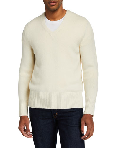 Men's Solid V-Neck Cashmere-Wool Knit Sweater