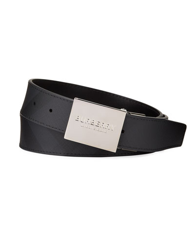 Men's Reversible London Check Belt with Logo Plaque