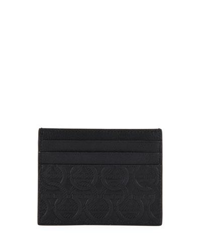 Men's Gancini-Print Leather Card Case