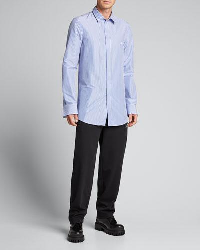 Men's Striped Elongated Sport Shirt